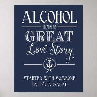 Nautical Navy Alcohol  love story print