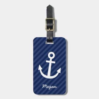 Nautical Navy Anchor Luggage Tag