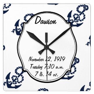 Nautical Navy Anchor Pattern Clocks