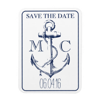 Nautical Navy Anchor   Save the Date Magnet