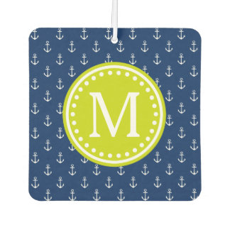 Nautical Navy and Lime Anchor Monogram
