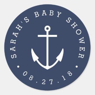 Nautical Navy and White Anchor Baby Shower Classic Round Sticker