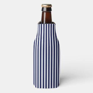 Nautical Navy and White Cabana Stripes Bottle Cooler