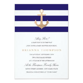 Nautical Navy Baby Shower 13 Cm X 18 Cm Invitation Card