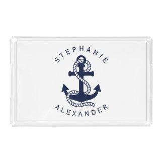 Nautical Navy Blue Anchor Custom Name Serving Tray