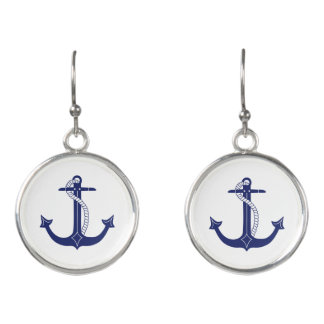 Nautical Navy Blue Anchor Earrings