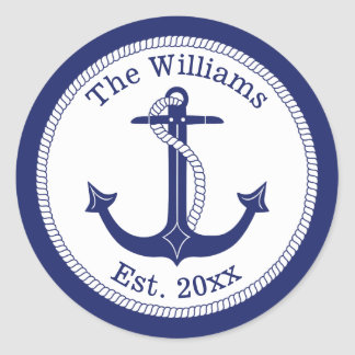 Nautical Navy Blue Anchor Family Name Classic Round Sticker