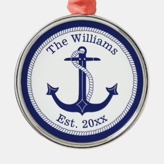 Nautical Navy Blue Anchor Family Name Metal Ornament