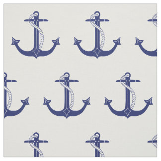 Nautical Navy Blue Anchor Pattern Fabric