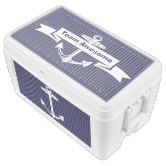 Nautical Navy Blue Anchor Pattern Ice Chest