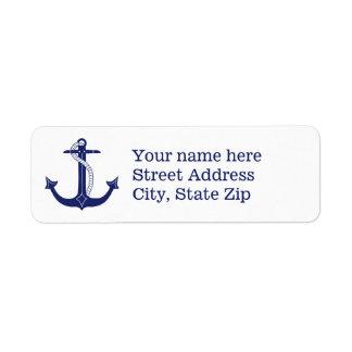 Nautical Navy Blue Anchor Return Address Label