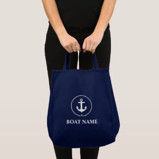 Nautical Navy Blue Anchor Rope Grocery Tote NB