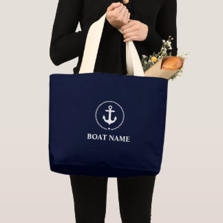 Nautical Navy Blue Anchor Rope Tote Bag