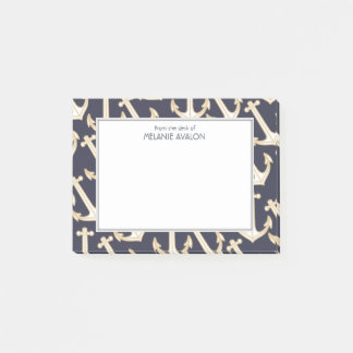 Nautical Navy Blue and Gold Anchor Personalized Post-it Notes