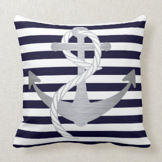 Nautical Navy Blue and Silver Anchor Sailing Cushion
