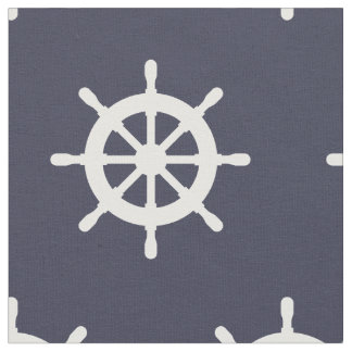 Nautical navy blue and white ship wheel pattern fabric