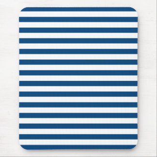 Nautical Navy Blue and White Stripes Mouse Pad