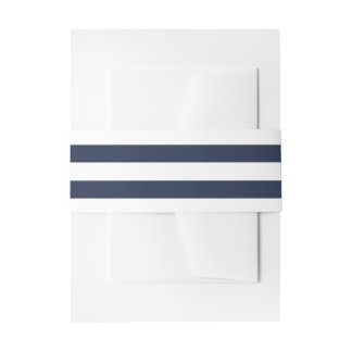Nautical Navy Blue and White Stripes Wedding Beach Invitation Belly Band