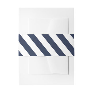Nautical Navy Blue And White Stripes Wedding Invitation Belly Band