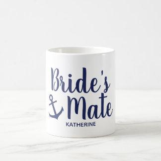 Nautical navy blue bride's mate anchor bridesmaid coffee mug