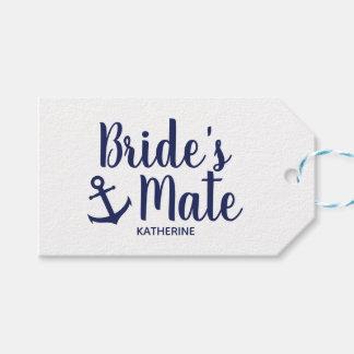 Nautical navy blue bride's mate anchor bridesmaid gift tags