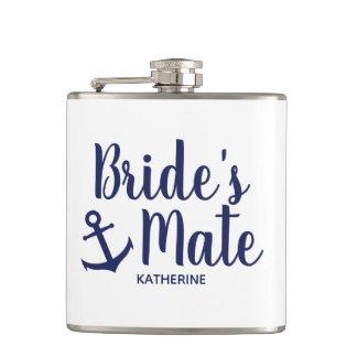 Nautical navy blue bride's mate anchor bridesmaid hip flask