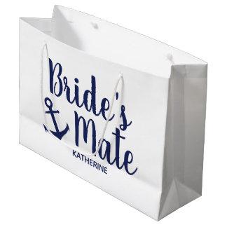 Nautical navy blue bride's mate anchor bridesmaid large gift bag