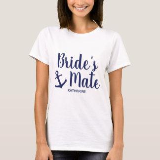 Nautical navy blue bride's mate anchor bridesmaid T-Shirt