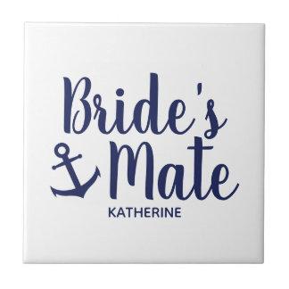 Nautical navy blue bride's mate anchor bridesmaid tile