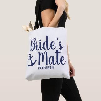 Nautical navy blue bride's mate anchor bridesmaid tote bag
