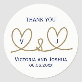 Nautical Navy Blue Hearts Rope Cord Wedding Classic Round Sticker