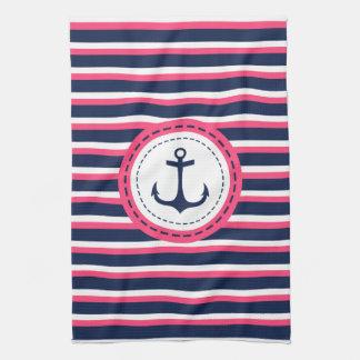 Nautical Navy Blue Hot Pink Stripes Anchor Design Tea Towel