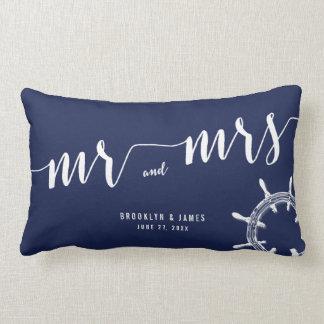Nautical Navy Blue Lumbar Wedding Pillows