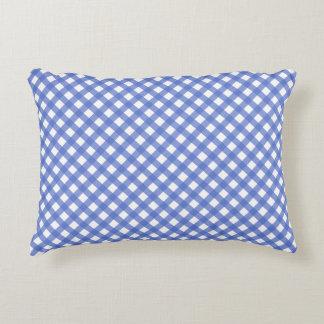 Nautical Navy Blue Plaid Accent Pillow