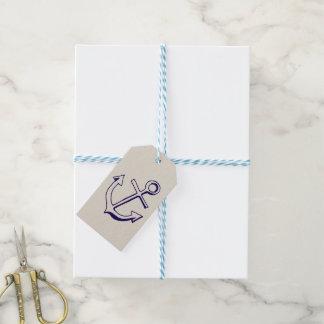 Nautical Navy Blue Ship Anchor Sailor Tan Wedding Gift Tags