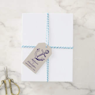 Nautical Navy Blue Ship Anchor Tan Wedding Party Gift Tags