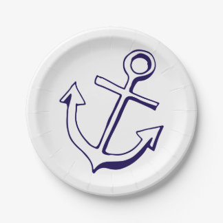 Nautical Navy Blue Ship Anchor Wedding Beach Paper Plate