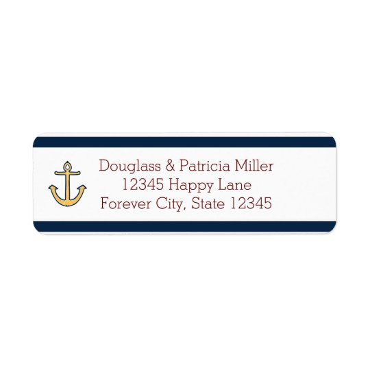 Nautical Navy Blue Stripes Anchor Return Address Label