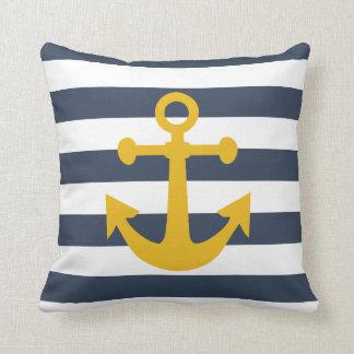 Nautical Navy Blue Stripes Mustard Yellow Anchor Cushion
