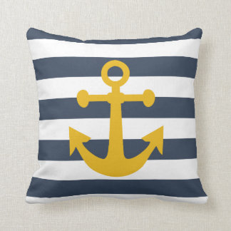 Nautical Navy Blue Stripes Mustard Yellow Anchor Throw Cushions