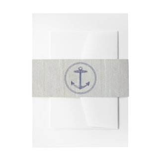 Nautical Navy Blue Stripes | Nautical Anchor Invitation Belly Band