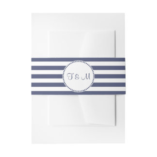 Nautical Navy Blue Stripes | Personalized Invitation Belly Band