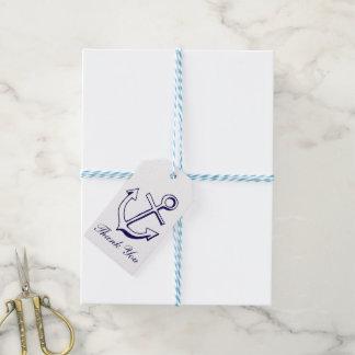 Nautical Navy Blue Thank You Ship Anchor Sailor Gift Tags