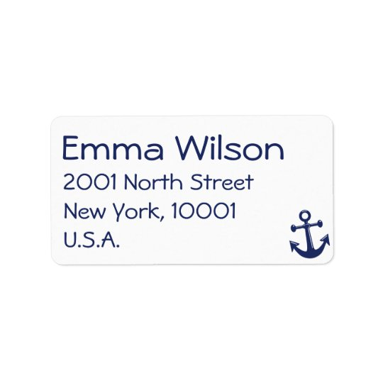 Nautical Navy Blue Wedding Address Labels