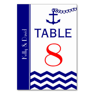 Nautical Navy Blue Wedding Table Numbers Cards