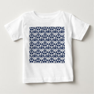Nautical navy blue white checkered baby T-Shirt