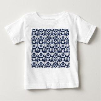 Nautical navy blue white checkered baby T-Shirt