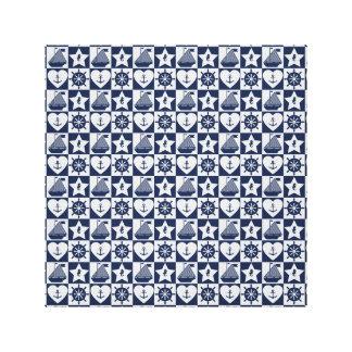 Nautical navy blue white checkered canvas print