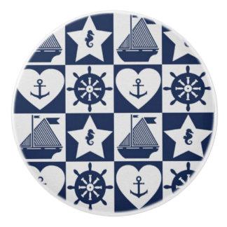 Nautical navy blue white checkered ceramic knob