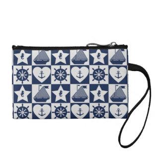 Nautical navy blue white checkered coin purse